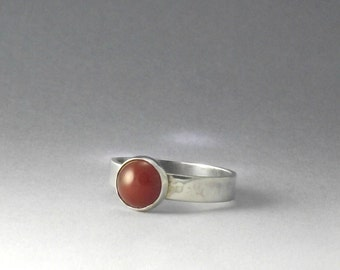 Wide Band Sterling Silver Ring with Red Carnelian, silver stacking ring, carnelian ring, handmade carnelian ring