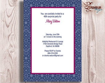 NAVY AND PINK Invitation : Sent as Digital pdf File