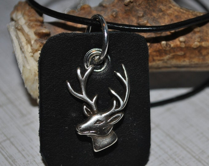 Men's necklace of black leather tag with silver deer head on black leather cord, simple, masculine, hunting, buck