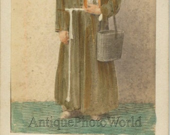 Franciscan monk antique hand tinted CDV photo Italy