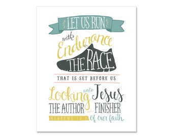 Hebrews 12:1 Wall Print   Great gift for a Runner! - instant download