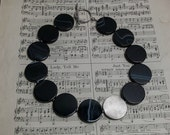Midnight moon.  Amazing onyx rounds with fine silver disc necklace.  OOAK, handmade by ladeDAH!