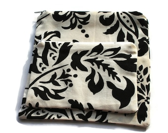 Reusable Sandwich and Snack Bags Set of 2 Black White Leaf Design Cotton Twill Zipper