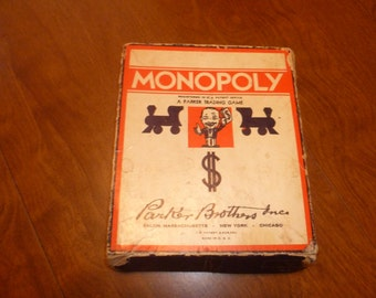 Monopoly Game from 1950 with Wooden Playing Pieces.
