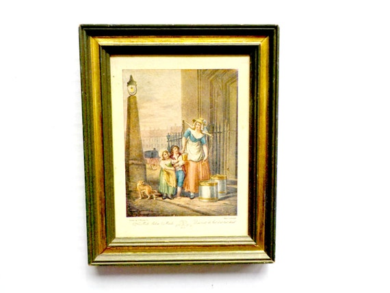Vintage Framed Wall Decor, Milk Below Maids,  Milkmaids, Woman and 2 Children,  Old Renaissance Look, Green Gold Wooden Frame Accent Picture