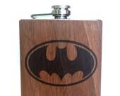 Batman flask - Wood gift idea - Comics