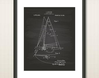 Sailboat Rigging 1921 Patent Art Illustration - Drawing - Printable INSTANT DOWNLOAD - Get 5 colors background