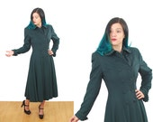 RESERVED |Green Wool Coat| Vintage Coat | Long Princess Coat | Size XS/S