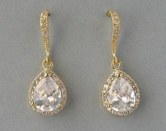 Cubic Zirconia, Gold Plated, Bridal Earrings, Teardrop Earrings, Zircon Earrings, Clear Earrings, Yellow Gold Plated,Bridesmaids Gift -DK621