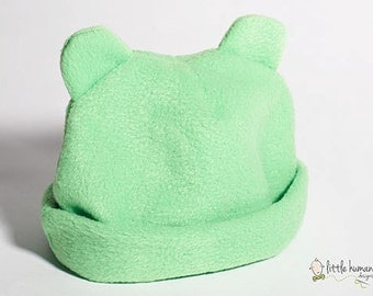 Baby Hat with Ears Green Fleece - Winter Baby Hat, Baby Shower Gift, New Baby Gift, Baby Boy Fleece Hat, Baby Girl Fleece Hat, Animal Hat