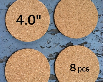 """4.0 Inch ROUND Blank Cork Coasters, 1/8"""" thick, 8-pack"""