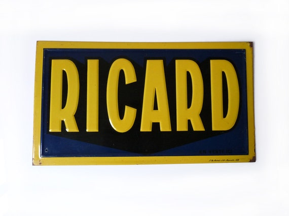 french ricard metal plaque lithographed by frenchvintageshop. Black Bedroom Furniture Sets. Home Design Ideas