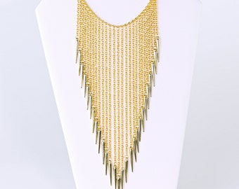 Long Gold Chain Spike Necklace