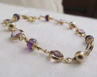 Amethyst Bracelet. Gemstome. Gold Filled. Wire Wrapped. Link. Gift. Anniversary. Birthday. Swarovski Crystal