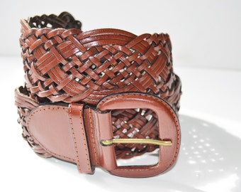 braided leather belt brown woman