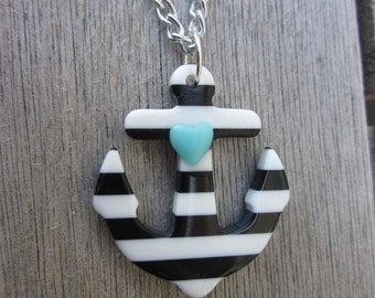Black White Striped Heart Sailor Resin Anchor Necklace Pin-Up