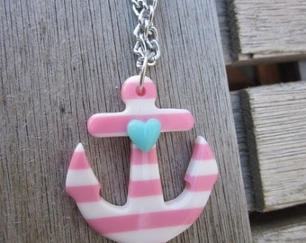 Pink and White Striped Heart Sailor Resin Anchor Necklace Pin-Up