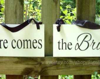 Weddings signs, Here comes the BRIDE, flower girl, ring bearer, photo props, single sided