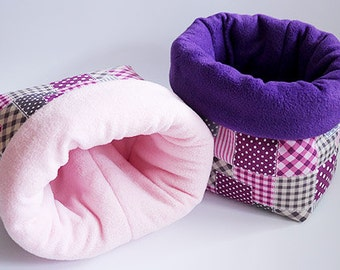SAVE SHIPPING: 2x cosy cuddle sack / sleeping bag XXL for guinea pigs, hedgehogs or sugar gliders (patchwork pink)