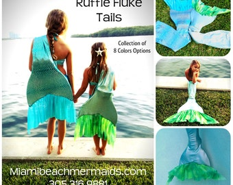 "Swimmable Mermaid Tail ""Ruffle Fluke Collection""  by Miam Beach Mermaids"