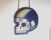 Roller Derby Sugar Skull Tattoo Necklace Lead Jammer in Navy Blue by Clumsy