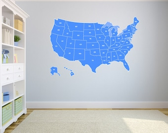 """Large US Map Wall Decal United States US Map Vinyl Art Wall Decal 72""""x43'"""