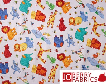 Nursery Animals Fabric, UP & Away by Cheri Strole for Northcott Fabrics, Quilt or Craft Fabric, Fabric by the Yard