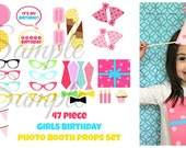 INSTANT DOWNLOAD Girl Birthday 47 piece Photo Booth Props PRINTABLE Download - Craft Decoration Party diy