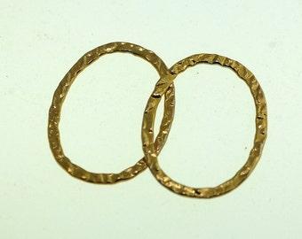 Oval Gold Filled Hammered Link, Hammered Link, Gold Filled Link, Size: 24mm x 18mm