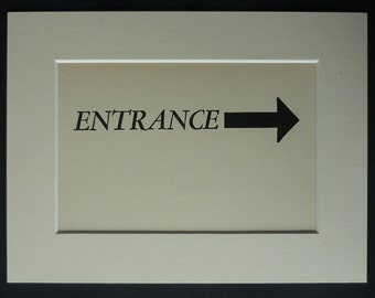 1930s Vintage Mounted Entrance Sign Directional arrow artwork, 1930s decor - Available Framed - Retro Print - This Way Sign - Vintage Sign