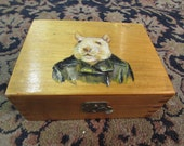 Hand Painted Wooden Box - Mouse in a leather jacket