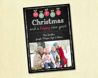 Chalkboard Christmas Card - Merry Christmas Happy New Year Family Photo Christmas Card - 1, 2 or 3 Pictures - Printable Card, Digital File