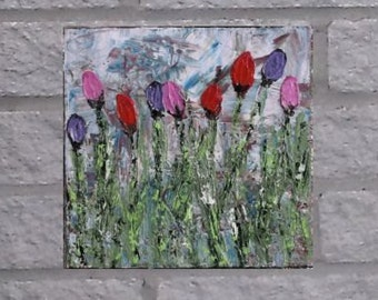 Tulip Painting | Original | Modern Abstract | 12x12 | Floral | Palette Knife | Acrylic | Painting | Canvas | Art | by jillsfineart