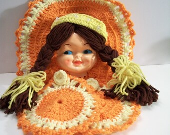 Vintage Orange Crochet Girl with Braids Pot Holder Set Retro Kitchen Decor