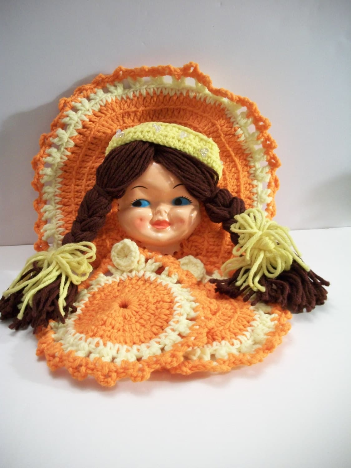 Vintage orange crochet girl with braids pot holder set retro for Vintage sites like etsy