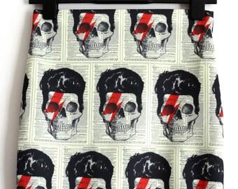 David Bowie Skull Skirt - Size 8 10 12 14 16 - Mini Bodycon Retro Bolt Horror Geek Chic Lightening Bolt
