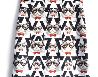 Geek Grumpy Cat Pencil Skirt - Size 8 10 12 - Digital Print Retro Bodycon Wiggle Geekery Glasses Bow Tie Vintage Monochrome Black White