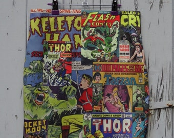 Vintage Comic Book Superhero Skirt - Size 8 10 12 14 16 - Mini Digital Print Retro Thor Bodycon Wiggle Avengers Hero Villian Thor Geek Chic