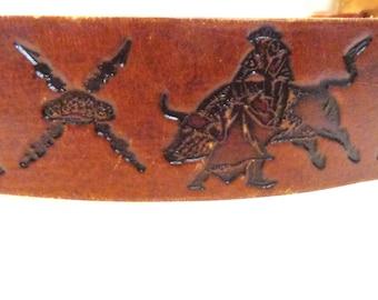 Hand tooled leather belt bullfight toro matador flamenco 33-39 inches vintage Barcelona Spain