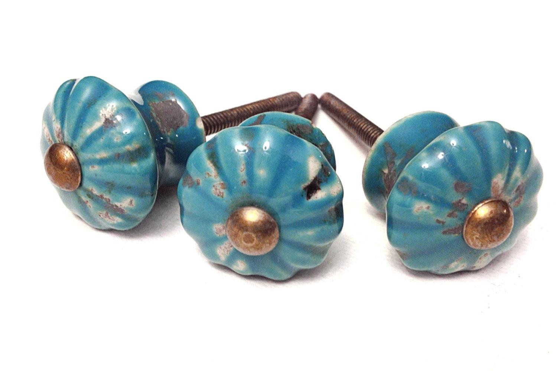 Turquoise Ceramic Knobs Antique Drawer Pulls Cabinet
