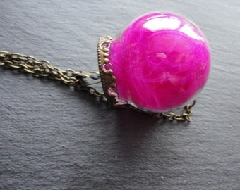 Necklace real Feather pink