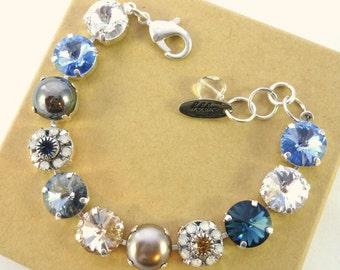Swarovski crystal bracelet, 12mm neutrals, blue,  tan, floral emebellished, Siggy bracelet