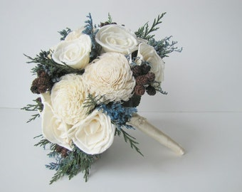 Blue and White Winter Bridal Bouquet - Blue Bride's Bouquet- Rustic Bouquet - Woodland bridal bouquet - Wedding Bouquet -Bride's Bouquet