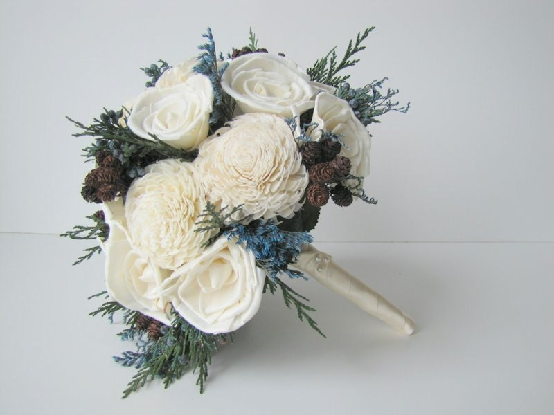 White Wedding Flowers March : Blue and white winter bridal bouquet bride s