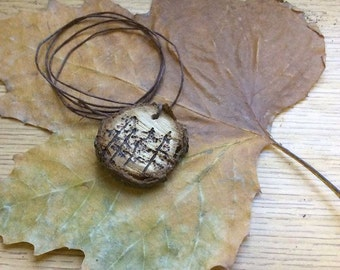 pine tree work burnt necklaces made from apple wood with hemp and copper