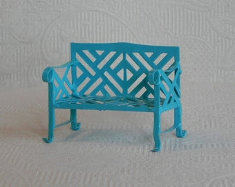 Fairy Garden Bench miniature furniture bright robin's egg blue accessories terrarium