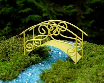 Fairy Garden Bridge miniature accessories footbridge yellow