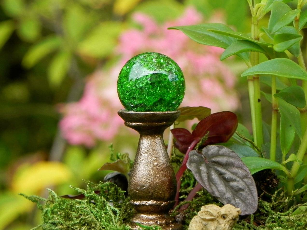 Gnome Garden: Fairy Garden Gazing Ball Miniature Crackle Emerald Green For
