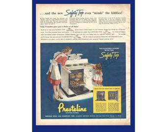 PRESTELINE ELECTRIC RANGE Original 1947 Vintage Extra Large Color Print Ad - Mother & Daughter Cooking; Pressed Steel Car Company