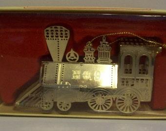 Brass Locomotive Train No.9 Metal Ornament Christmas in Bo